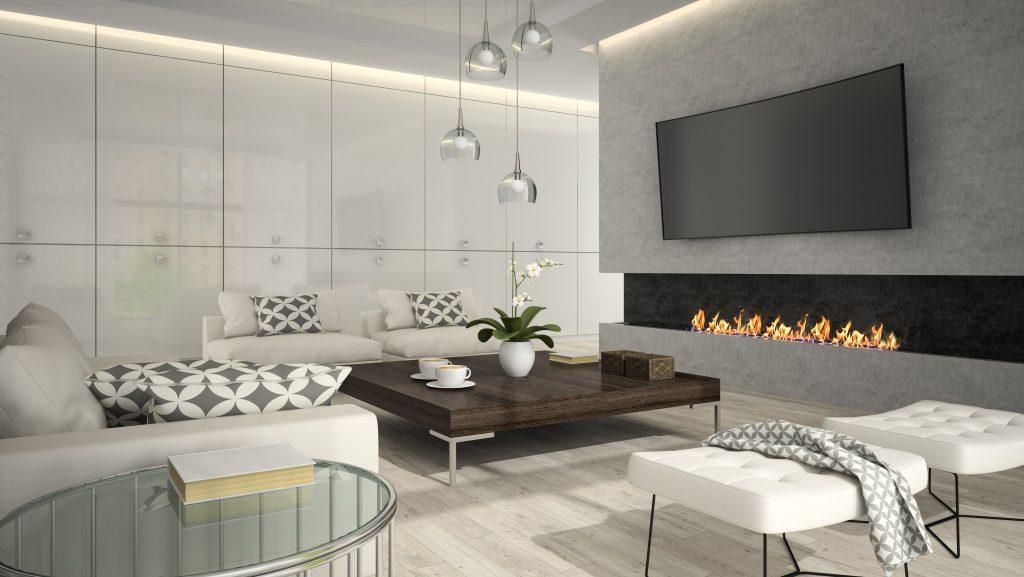 Reforma interior de salón con chimenea, pavimentado y alicatado